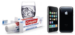 Toothpaste(Colgate) and iphone(Apple)